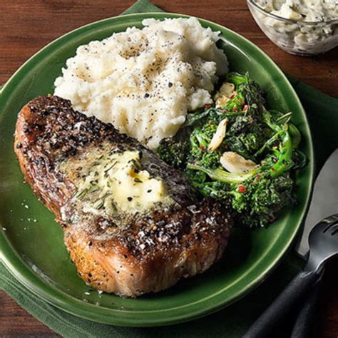 rachael ray roasted broccoli strip steaks with rosemary garlic butter taleggio mashed