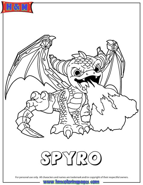 skylanders giants magic series2 spyro coloring page h