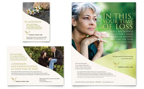 memorial funeral program flyer ad template design