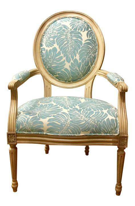 leaf pattern armchair blue leaf pattern avery arm chair chairish