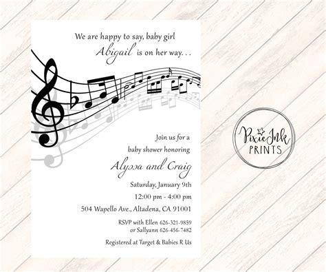 printable birthday invitations music theme music notes baby shower invitation musical baby shower