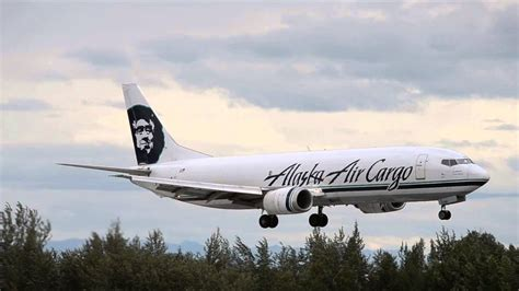 alaska air cargo boeing 737 400f landing anchorage int l panc