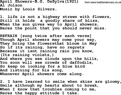 April Showers Song by World War One Ww1 Era Song Lyrics For April Showers B G