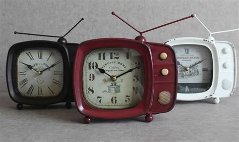 iron art retro tv shaped desk clock feelgift