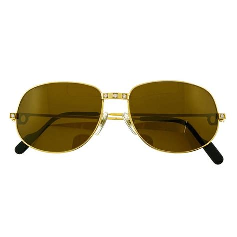 Sungglasses Kacamata Cartier T8200669 Box Sleting cartier santos set 18k gold sunglasses for sale at 1stdibs
