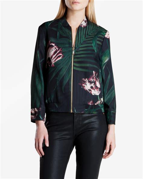 Palm Bomber Jacket ted baker palm floral bomber jacket in floral black lyst