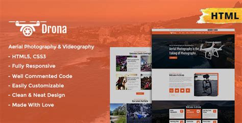 Drona Aerial Photography Video Html Template By Themelooper Themeforest Aerial Photography Website Templates