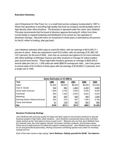 subway business plan template free printable business plan sle form generic