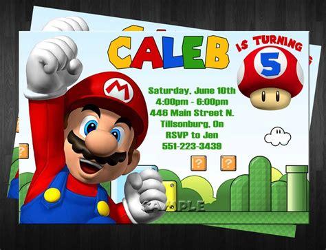mario invitation template mario birthday invitations wblqual