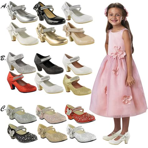 childrens high mid heel diamante shoes