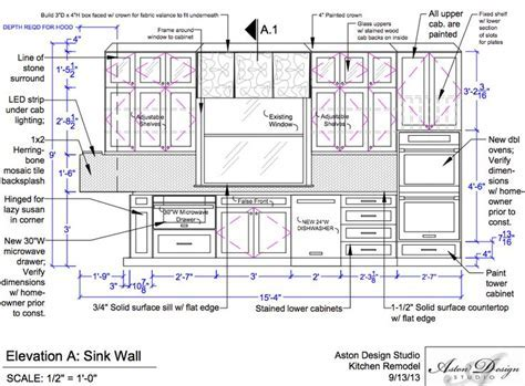 Drawn kitchen construction drawing   Pencil and in color