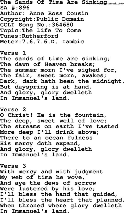 The Sinking Lyrics by Salvation Army Hymnal Song The Sands Of Time Are Sinking