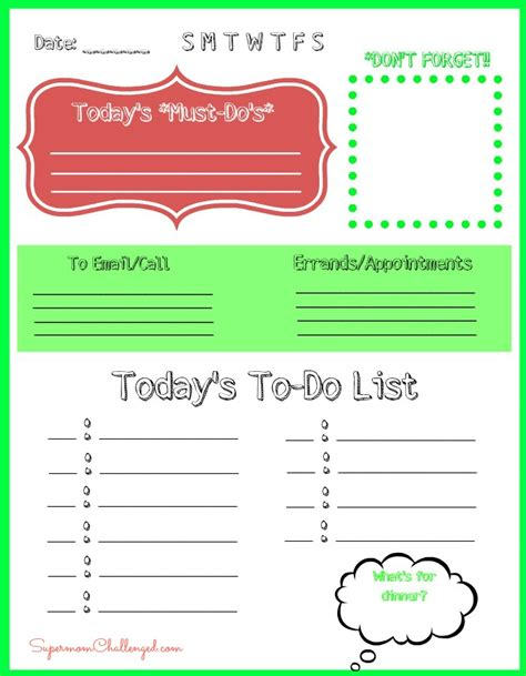 printable home organization lists free daily to do list printable for home organization