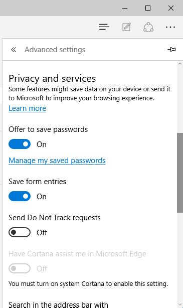 how many place settings how many privacy settings in microsoft edge and how to set