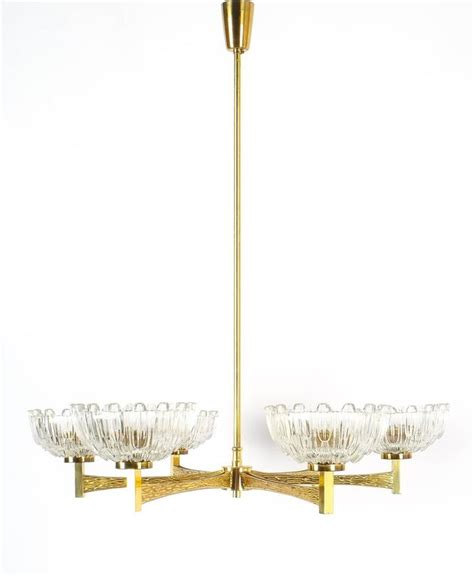 hans agne jakobsson six arm hans agne jakobsson attributed six arm chandelier from brass glass 1960 for sale at 1stdibs