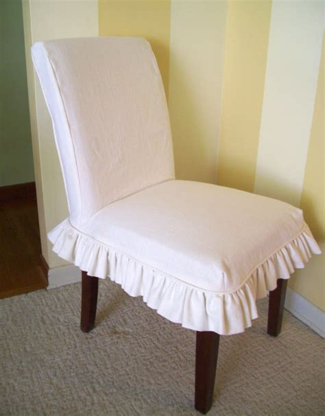Chair Slipcovers - linen parsons chair slipcover ruffled skirt dining chair
