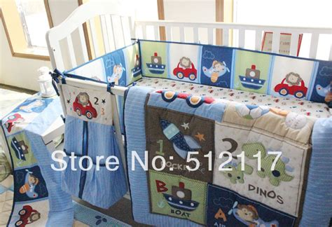 Hot Sell 2014 New Blue Cars Airplan Boy Baby Crib Cot Boy Crib Bedding Set