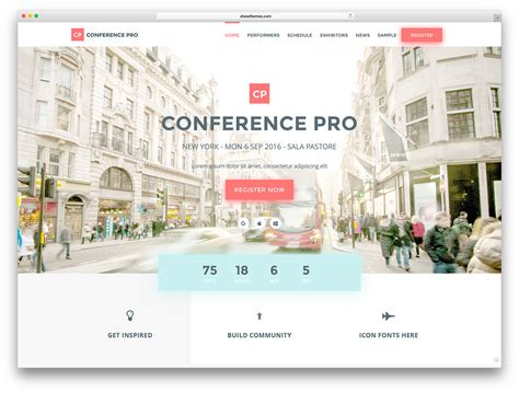 30 Awesome Wordpress Themes For Conference And Event 2018 Colorlib 2 Page Website Template