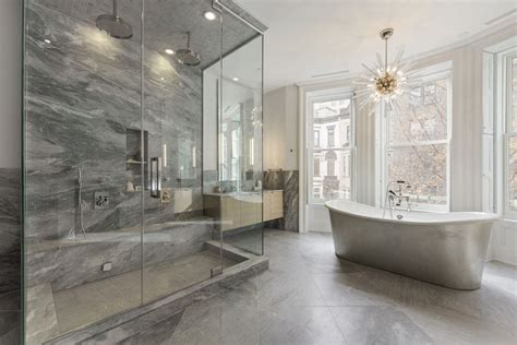 Contemporary master bathroom with rain shower head amp high