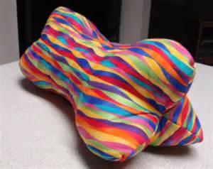 colorful rainbow ripples bone shaped contoured neck pillow