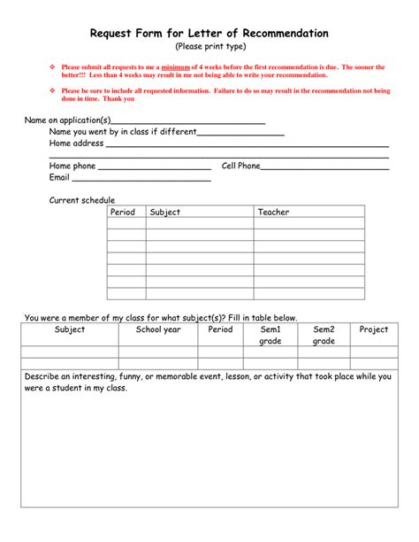 College Letter Of Recommendation Request Form Request Form For Letter Of Recommendation In Word And Pdf Formats