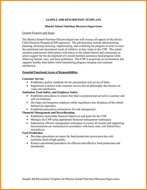exle of a description template sle description template business template
