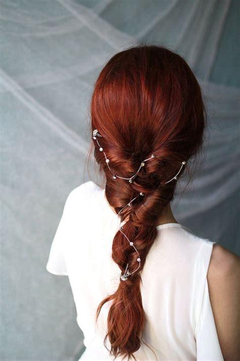 beautiful  refined bridal hair vine ideas
