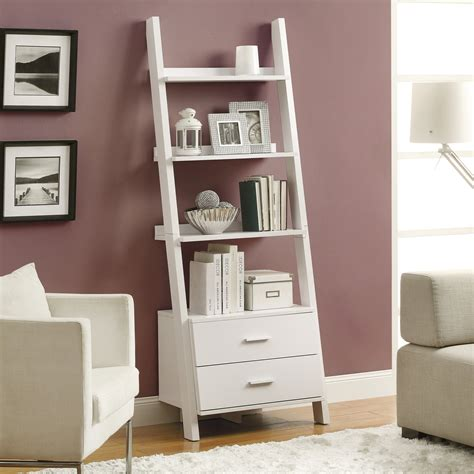 White Ladder Shelf Bookcase Monarch 69 In Ladder Bookcase With 2 Storage Drawers White Bookcases At Hayneedle