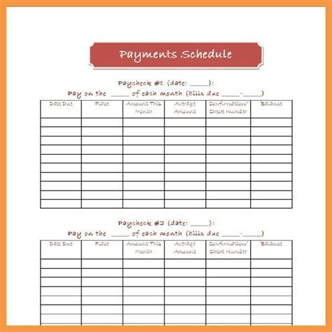 pay template best photos of bill pay template bill payment schedule