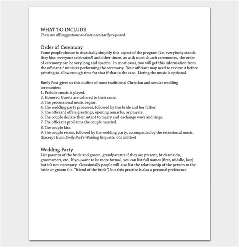 wedding planner outline wedding outline template 13 for word and pdf format