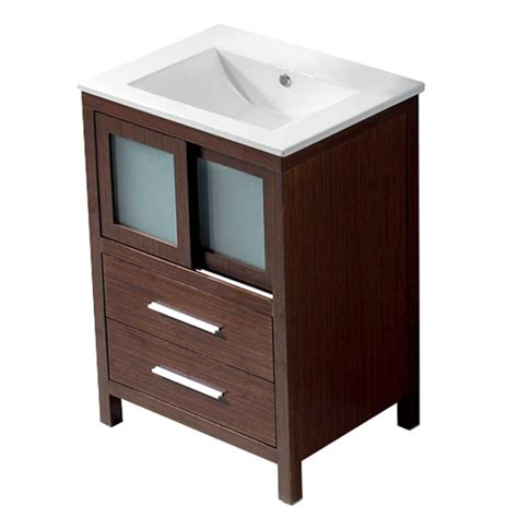 18 Bathroom Vanity And Sink Shop Vigo Wenge Integral Single Sink Bathroom Vanity With Vitreous China Top Common 24 In X 18