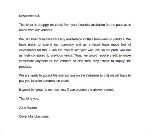 Credit Application Letter Exles Letter Of Credit 9 Free Sles Exles Formats