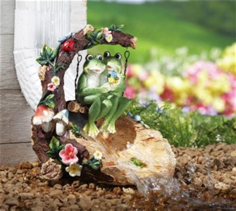 adorable garden frogs on swing gutter downspout splash