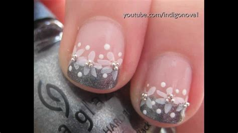nail art konad tutorial pretty konad flower french manicure bridal prom nail art