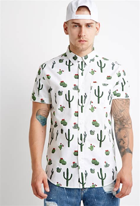 Cactus Print Shirt lyst forever 21 cactus print shirt you ve been added to