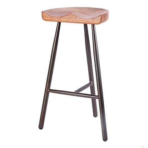 3 Bar Stools buy vintage brown 3 leg metal bar stool with solid