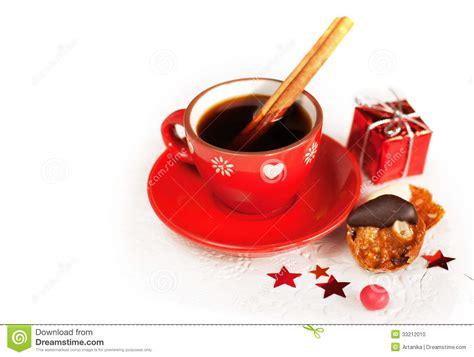 cafe natale coffee with cinnamon sticks stock photo image