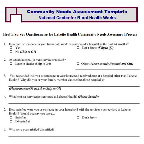 9 Sle Community Needs Assessment Templates To Download Sle Templates Needs Assessment Template