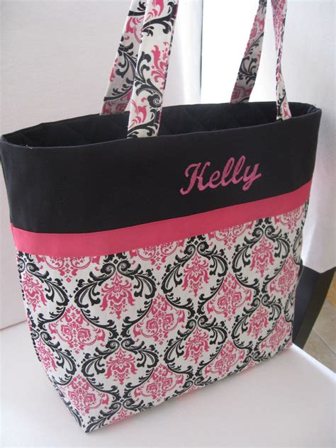 embroidered bag large embroidered tote bag pink and black damask