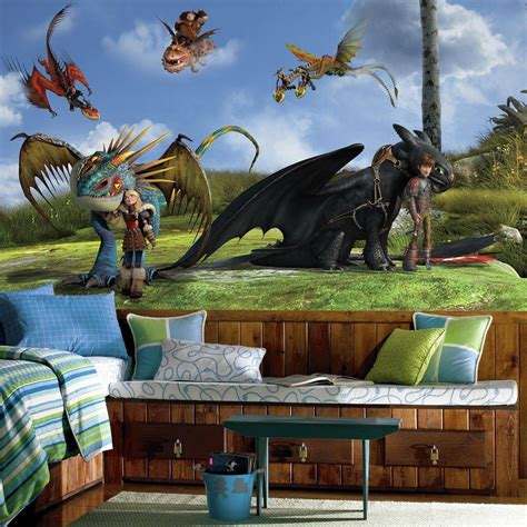 how to train your dragon bedroom roommates 72 in x 126 in how to train your dragon character xl chair rail 7 panel
