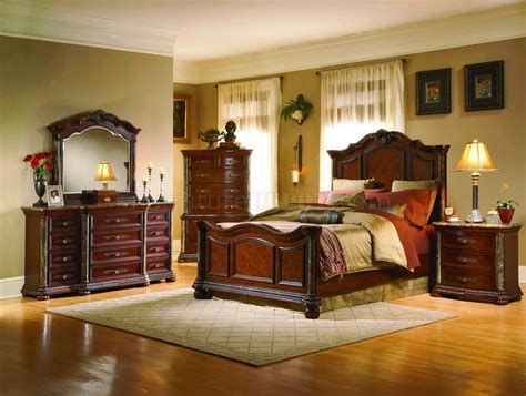 marble top bedroom set cherry finish mediterranean classic 5pc bedroom set w