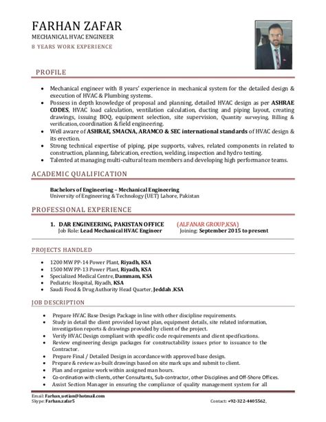 hvac project engineer resume format sr mechanical hvac engineer cv