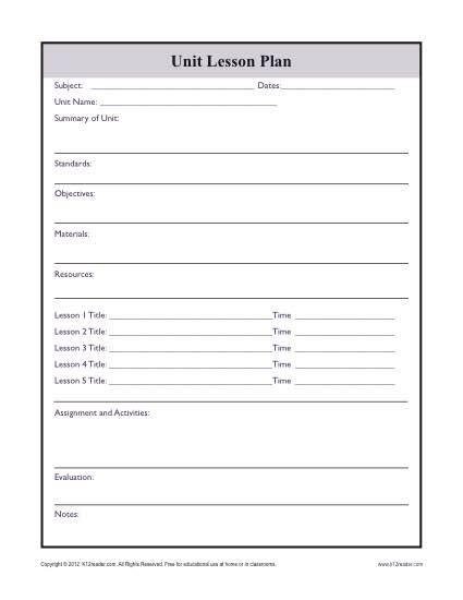 Complex Unit Lesson Plan Template Thematic Unit Lesson Plan Template
