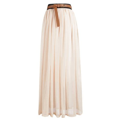 maxi dress chiffon pleated high elastic waist