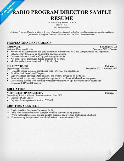 radio director resume 28 images sle resume objective