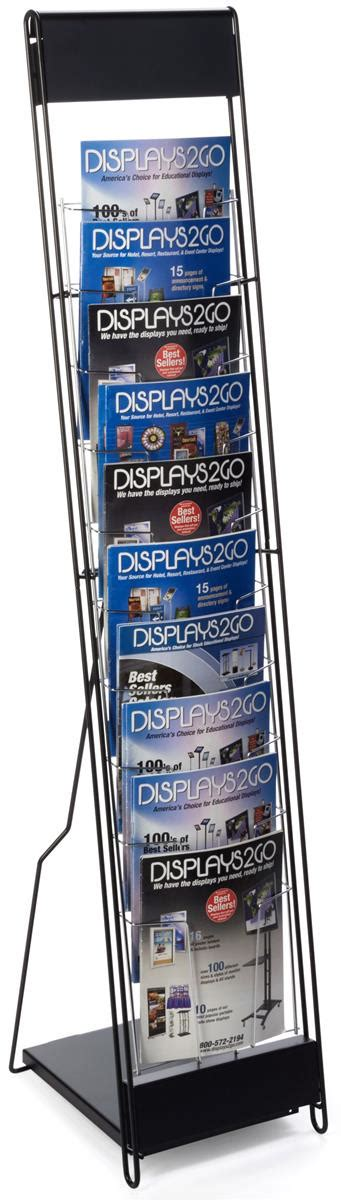 black magazine rack with 10 pockets displays for trade
