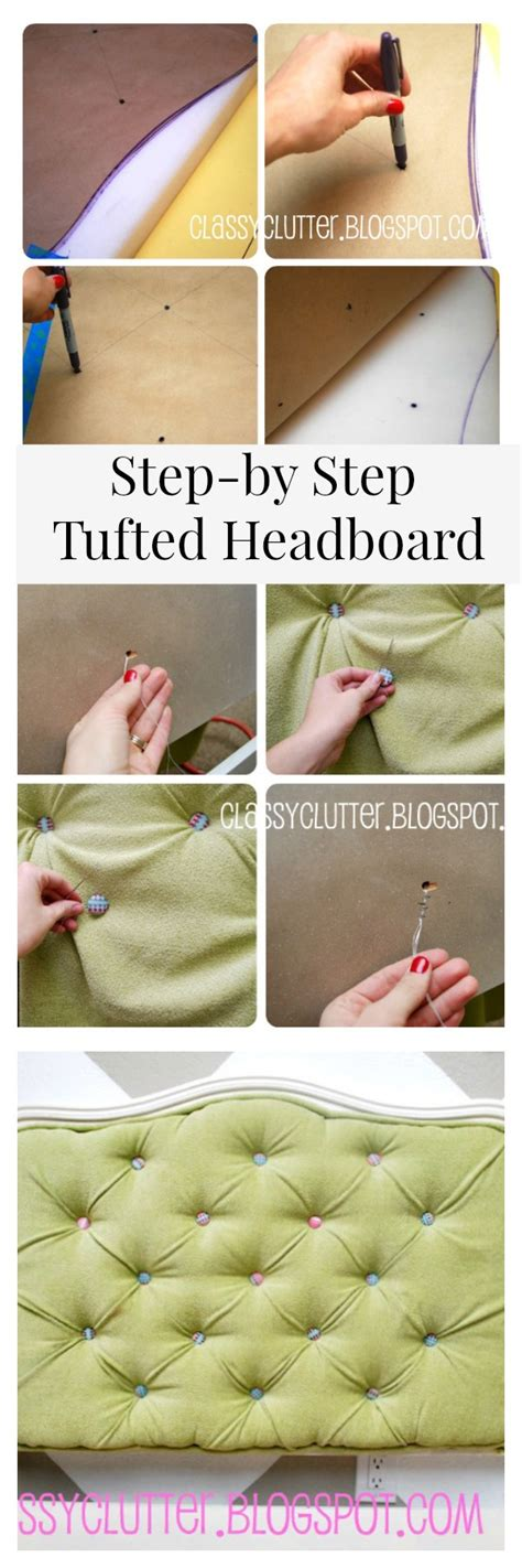 diy fabric headboard instructions diy upholstered tufted headboard tutorial classy clutter