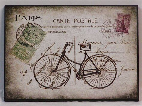 printable french postcards vintage french postcard and bicycle wood by nikkissecretcloset