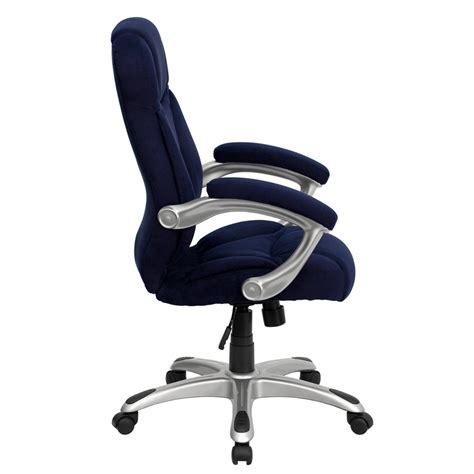 high back navy blue microfiber contemporary executive