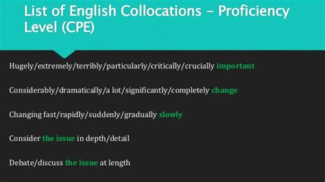 Mba What Is Collocation by List Of Collocations Cpe Proficiency Level
